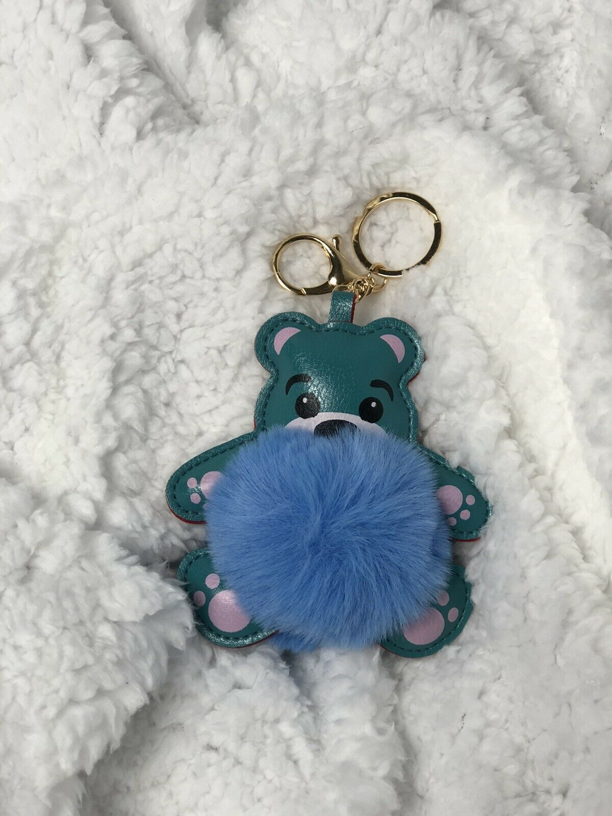 Primary image for Fuzzy Fluffy Bear Faux Fur And PU leather Bag Charm Keychain Accessory US Seller