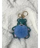 Fuzzy Fluffy Bear Faux Fur And PU leather Bag Charm Keychain Accessory U... - $8.79