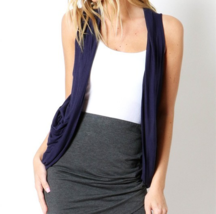 Navy Rayon Vest, Navy Open Front Sleeveless Rayon Layering Cardigan