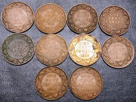 Collection of 10x Canada Large Cent Coins - Dates: 1916 to 1920 - $10.91