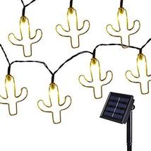 Elnsivo Solar String Lights 15.7FT 20LED Metal Cactus String Lights Deco... - $20.79