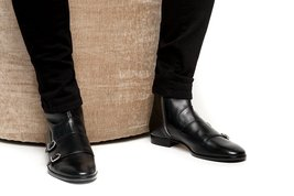 HANDMADE BLACK ANKLE BOOTS LEATHER DOUBLE-MONK ANKLE BOOTS WITH METAL ZI... - $169.99+