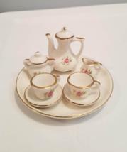 Vintage 8 Piece Miniature Tea Set - White Ceramic, Gold Trim, Pink Roses - $5.00