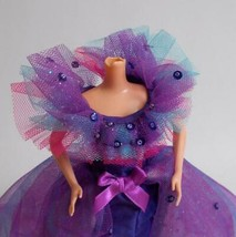 Barbie Purple Ballgown Customized OOAK Beads Sequins 90s Doll Dress - $24.74