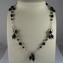 .925 SILVER RHODIUM NECKLACE WITH BLACK ONYX AND GRENADE image 1