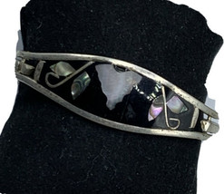 Vintage Mother of Pearl Abalone Mexican Inlay Black  Silver Tone Bracelet - $20.53