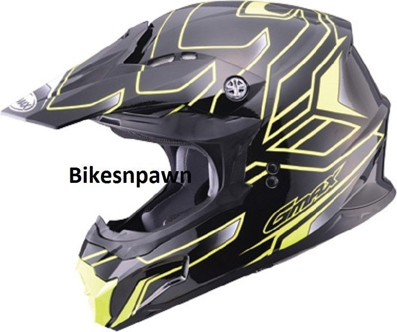 New Black/ Yellow XS Adult GMax MX86 Offroad Helmet DOT & ECE 22.05 Approved
