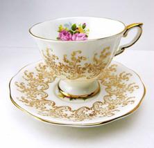 ROYAL STANDARD Golden Rose Bouquet Teacup and Saucer Set Albert Works Lo... - $58.99