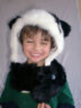 Adulto Nero & Bianco Furry Orso Panda Hug Cappello Invernale Animale Cap... - €19,88 EUR