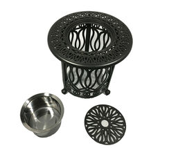 8 piece patio cast aluminum party bar and swivel bistro set with Sunbrella seats image 6