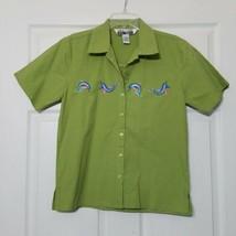 Nina Women's Button Down Shirt ~ Sz M ~ Green ~ Short Sleeve ~Dolphins E... - $18.80