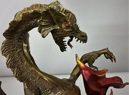 Bronze Serpent Reptile Fire Medieval Monster Sculpture Statue Art Deco F... - $1,249.00