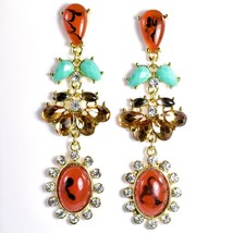 """Mode Red-Brown Lucite Bead 2.5"""" Drop Post Dangle Earrings New with Tag image 1"""