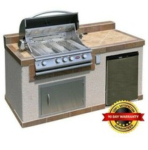 Cal Flame Outdoor Kitchen 4-burner Barbecue Grill Island With Refrigerator - $3,266.99