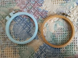 """2 3 1/2"""" ROUND EMBROIDERY HOOPS: ONE WOOD, ONE BLUE PLASTIC - $8.91"""