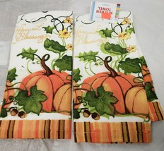 "2 SAME PRINTED TERRY TOWELS (15"" x 25"") HARVEST BLESSINGS by AM - $10.88"