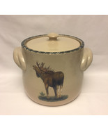 Home and Garden Party stoneware bean pot moose design cookie jar or cani... - $14.00