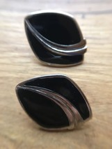 Vintage Silver and Black Enamel  Abstract Earrings for Pierced Ears - $5.94
