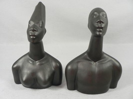 African Sculpture Figurines Art Busts Male Female Decor - $62.37