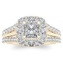 IGI Certified 14k Yellow Gold 1ct TDW Princess Cut Diamond Halo Engageme... - $979.99