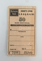 Vintage Burlington Agent's Stub - 50 Ride Individual Commutation Ticket