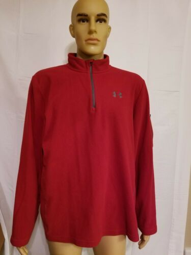 Under Armour Red Fleece Jacket Half Zip Long Sleeve Mens Size XL Extra Large UA