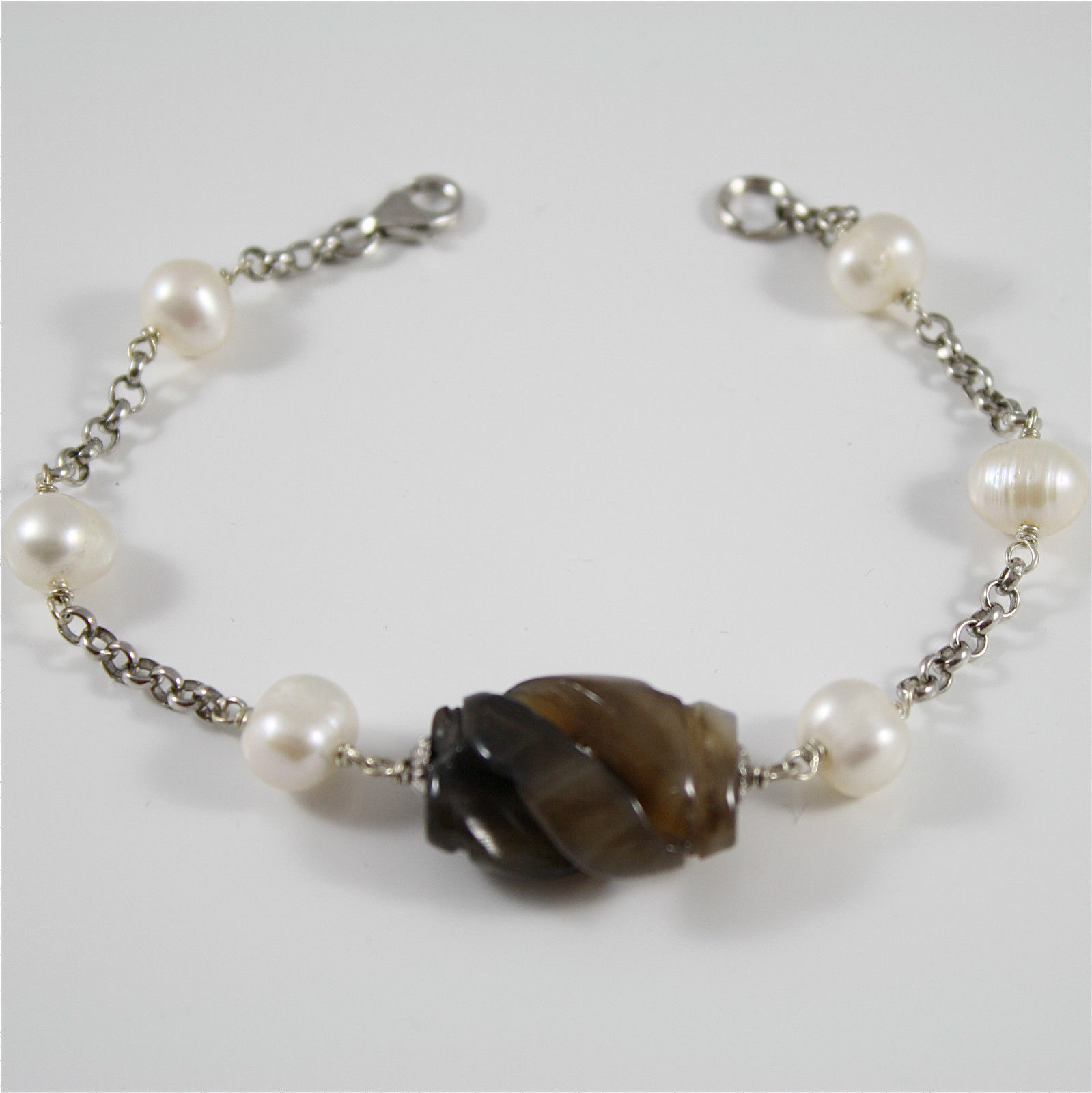 Bracelet in Sterling Silver 925 Rhodium with pearls and jade Brown worked weave - $32.65