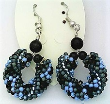 Black Onyx Bead Crochet Rope Earrings - $13.37