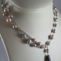.925 RHODIUM SILVER NECKLACE, PURPLE AND ROSE PEARLS, AMETHYST PENDANT. image 2