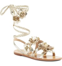 Tory Burch Blossom Gladiator Sandals Gold Floral Shoes Flats Flip Flop 6... - $129.00