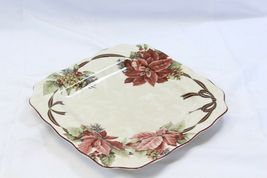 """222 Fifth Yuletide Celebration Poinsettia Square Dinner Plates 10.75"""" Lot of 6 image 6"""