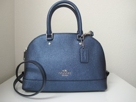 New Coach Mini Sierra Crossgrain Carryall Satchel Handbag Metallic Navy ... - $133.65