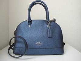New Coach Mini Sierra Crossgrain Carryall Satchel Handbag Metallic Navy ... - £103.17 GBP