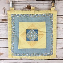 Wall Quilt Handmade by my Mom Yellow Blue Rod Loops 14 x 14 IN C7 - $15.86