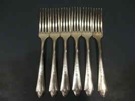 "Six Tudor Silverplate DUCHESS Pattern Forks 7 1/2"" Made 1923 Oneida Comm... - $19.79"