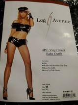 Leg Avenue Halloween Costume 4pc vinyl biker babe outfit medium rock n r... - $19.80