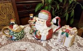 St Nicholas Christmas Tea Set Teapot Creamer & Sugar New in Original Boxes - $39.99