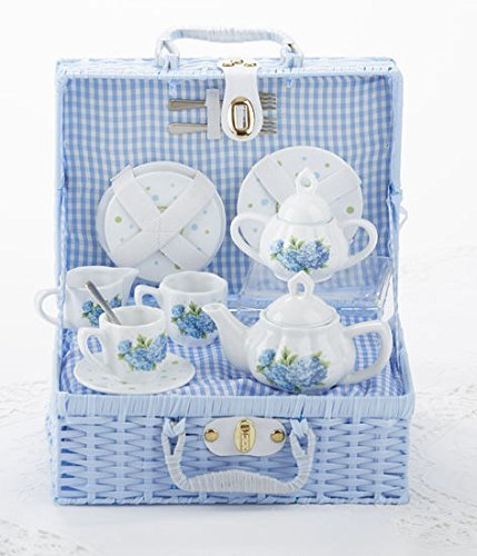 Image 1 of Delton Child's Porcelain Tea Set for 2 in Wicker Basket Hydrangea 8117-2