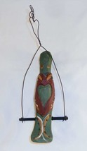 1992 J. Bastian Carved & Painted Wood Folk Art Parrot on Swing Hearts De... - $187.00