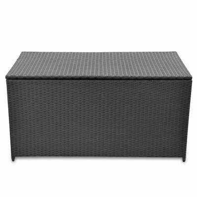vidaXL Garden Storage Chest Poly Rattan Black Outdoor Bench Cabinet Organizer image 2