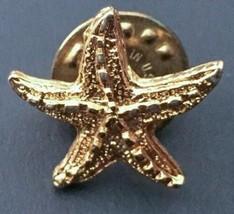 Vintage Small Golden Starfish Pin Goldtone Sea Life Nautical Fashion Jew... - $9.89