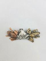Vintage metal brooch pin three frogs - $19.80
