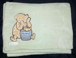 CLASSIC Winnie The POOH Bear Baby Blanket Lovey Fleece Green Disney 30x4... - $23.22