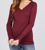 Long Sleeve Sweater with Split Sleeve Detailing, Burgundy Viscose Sweater, Red - $27.99