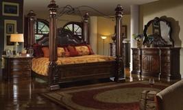 McFerran B6003 Tuscan 4Pcs Brown King Post Bedroom Set