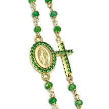 18K YELLOW GOLD ROSARY NECKLACE, FACETED EMERALD ROOT, CROSS & MIRACULOUS MEDAL image 4