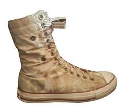 Converse women 8 snap down Chuck Taylor Extra High Tops Shoes - RARE paisley tan - $120.38