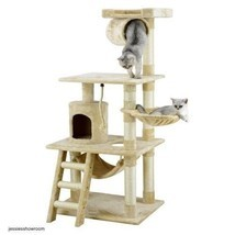 Cat Tree Kitty Pet Play House Hide N Seek Bed Tower Condo Scratch Toys B... - $98.16