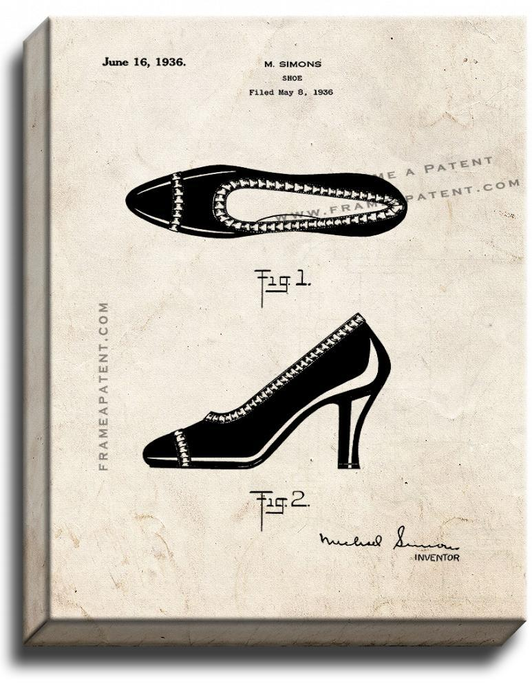 Primary image for High Heal Shoe Patent Print Old Look on Canvas