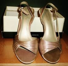 Liz Claiborne Bronze Stappy Kitten Heels - $20.00